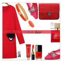"""Red!"" by simona-altobelli ❤ liked on Polyvore featuring WithChic, Kate Spade, Bobbi Brown Cosmetics, Halcyon Days, Kenneth Jay Lane and Estée Lauder"