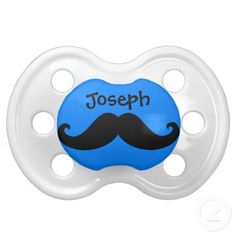 Funny Mustache Stache Custom Name 7 Baby Pacifier