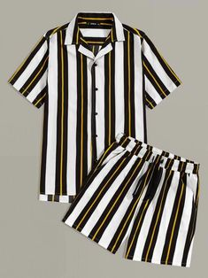 Shop Guys Notched Collar Striped Shirt & Shorts Set at ROMWE, discover more fashion styles online. African Shirts For Men, African Dresses For Kids, Nigerian Men Fashion, African Men Fashion, Swag Outfits, Casual Outfits, Tomboy Fashion, Fashion Outfits, Mode Kimono
