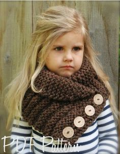 Knitting pattern - The Ruston Cowl (The Velvet Acorn Designs) Little kids in crochet/knit wear are fricken adorable! Knitting For Kids, Loom Knitting, Knitting Projects, Baby Knitting, Crochet Projects, Crochet Baby, Knit Crochet, Knitted Cowls, Knitting Tutorials