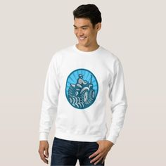 Farmer Plowing With Tractor Retro Sweatshirt. Sweatshirt designed with an illustration of a farmer plowing using a vintage tractor viewed from the rear set inside an oval done in retro style. #tractor #farmer #sweatshirt