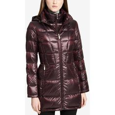 Calvin Klein Hooded Packable Down Puffer Coat ($88) ❤ liked on Polyvore featuring outerwear, coats, shine wine, shiny coat, puffy coat, hooded puffer coats, calvin klein and down coat