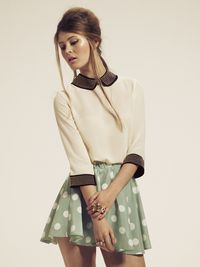 """Dahlia"" collared blouse with high waisted skirt"