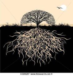 arbre, silhouette, à, racines Voir Clipart Grand Format