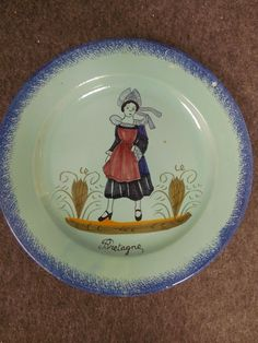child table Bowl Plate hand painted Cup and egg Cup decorated La ferme service porcelain of Limoges