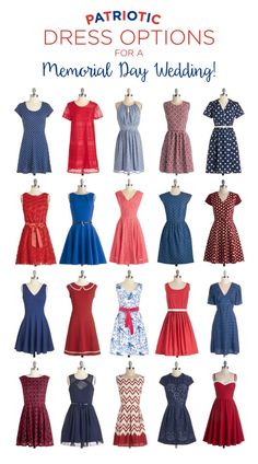 Patriotic dresses perfect for a Memorial Day or Independence Day Wedding! We rounded up our faves from @ModCloth!