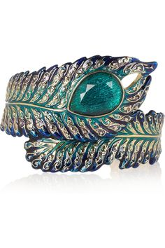 Blue and turquoise enamel and crystal cuff