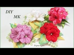 Bows and cm from the reps of the gradient MK Kanzashi Ribbons with their hands Diy Ribbon Flowers, Cloth Flowers, Kanzashi Flowers, Ribbon Art, Ribbon Crafts, Flower Crafts, Fabric Flowers, Band Kunst, Baby Hair Bands