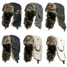 Trapper Russian Adult Warm Ski Aviator Bomber Hat Fur Men Winter Earflap Trooper 1pc Save this photo on your board if you ❤️ it. Blue Grey, Red Black, Army Green, Skiing, Aviation, Winter Hats, Fur, Unisex, Wool
