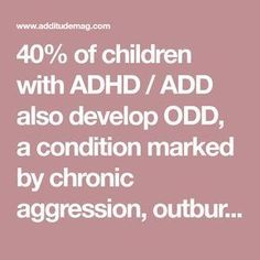 of children with ADHD / ADD also develop ODD, a condition marked by chronic aggression, outbursts, and frustration. Understand your defiant child here. Adhd Odd, Adhd And Autism, Odd Disorder, Disorders, Defiance Disorder, Adhd Facts, Adhd Signs, Teen Depression, Adhd Brain
