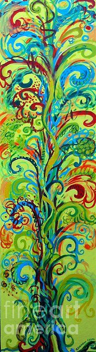 """Whirlygig Tree"" by Artist Genevieve Esson. Acyrlic on wood panel, 12""w x 48.5"". SOLD. I am a huge fan of trees. In this painting I wanted to express how a tree makes me feel when I look at it. It is vibrant and full of color and life. Stretched canvas, metal & acrylic prints available on Fine Art America at 45% OFF. Key in KSSUES for code."