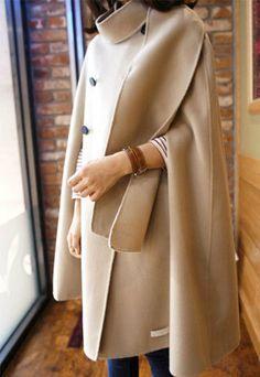 Elegant Glamorous Celebrity Batwing Irregular Cape Stand Collar Overcoat