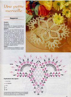 Photo from album sabrina tous les ouvrages 70 on Crochet Motif Patterns, Crochet Diagram, Crochet Chart, Thread Crochet, Filet Crochet, Irish Crochet, Crochet Stitches, Crochet Table Runner, Crochet Tablecloth