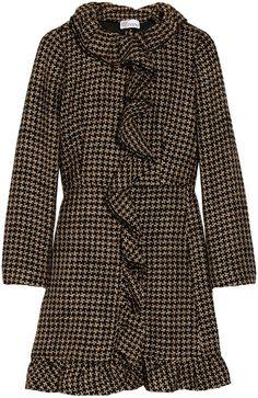 Ruffled Wool-blend Tweed Coat - RED VALENTINO