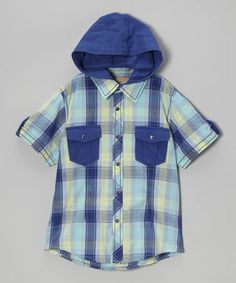 Loving this Royal Urban Admirer Hooded Button-Up - Toddler & Boys on #zulily! #zulilyfinds #kalliopekids #fashion #fun #hoodie #casual #hipster #boys #royal
