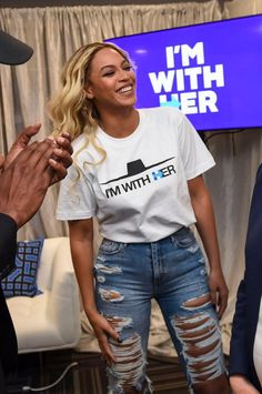Beyoncé & Jay Z with Hillary Clinton backstage at a Hillary Clinton event at the Wolstein Center at Cleveland State University in Cleveland, Ohio on November 4, 2016