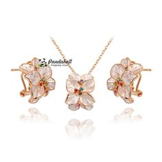 Flower Pendant Necklaces and Stud Earrings, with Czech from Pandahall Flagship Store on Aliexpress.com