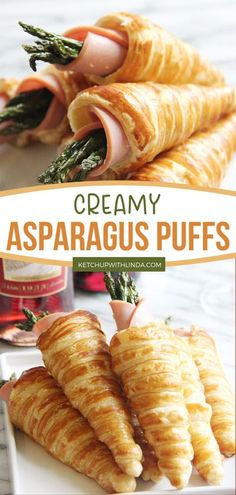 Puff pastry wrapped asparagus with ham and cream cheese is one of the best puff pastry ideas! These cheesy and creamy asparagus puffs are perfect in savoring the beginning of summertime. Save this pin for later! Yummy Appetizers, Yummy Snacks, Appetizer Recipes, Snack Recipes, Chicken Under A Brick, Creamy Asparagus, Tortellini Salad, Farro Salad, Cilantro Lime Chicken