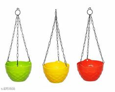 Artificial Flowers and Plants Hanging Diamond Planter, Hanging Pots For Plants  Material : Plastic   Size(Dia x Depth) :  7.4 in x 5 in  Description : It Has 3 Pieces Of Hanging Diamond Planter, Hanging Pots For Plants Sizes Available: Free Size *Proof of Safe Delivery! Click to know on Safety Standards of Delivery Partners- https://ltl.sh/y_nZrAV3  Catalog Rating: ★4.2 (3033)  Catalog Name: Trendy Lovely Flower Pots Vol 2 CatalogID_372993 C127-SC1610 Code: 692-2751808-