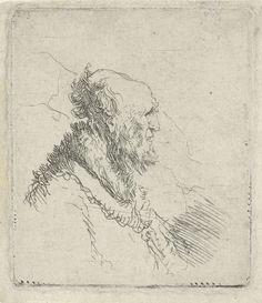 Rembrandt Harmensz. van Rijn | Kaalhoofdige oude man met korte baard: profiel naar rechts, Rembrandt Harmensz. van Rijn, 1633 - 1637 |