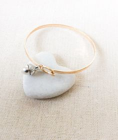 Gold bangle - silver acorn charm - Christmas gift for her - special birthday gift - new job gift - starting over gift - women's bangle  #giftsforher #jewelleryideas #bangles