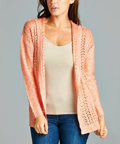 Love this Salmon Crochet Hooded Open Cardigan by By Design on #zulily! #zulilyfinds