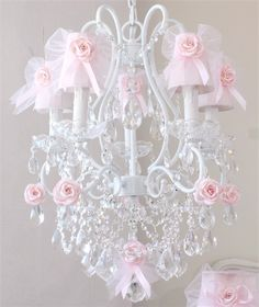 5 Light Chandelier with Pink Tulle Bow Shades #rosenberryrooms