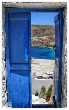 Blue door on Amorgos island, Greece Myconos, Greece Art, Greek Blue, Windows, Greek Islands, Greece Travel, Vacation Spots, Santorini, Beautiful Places