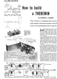 Theremin.info :: How To Build A Theremin (1953) - from the Theremin.info Archives http://amzn.to/2spCmml