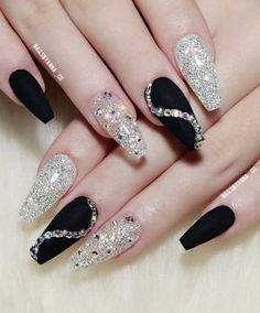 Simple Black Coffin Nail Designs For Winter Holidays To giv., Simple Black Coffin Nail Designs For Winter Holidays To give you inspiration for nail art in this winter, we have specially collected 76 images of black coffin nail designs, I hope you can. Holiday Nail Designs, Black Nail Designs, Winter Nail Designs, Holiday Nails, New Years Nail Designs, Ongles Bling Bling, Rhinestone Nails, Bling Nails, Black Acrylic Nails