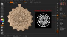 The ornaments on the metal are done with Zbrush's Surface Noise using UV, I first made the alpha in photoshop from some islamic ornaments reference I have in a book . and then use it for the Surface Noise