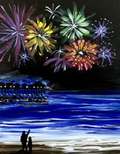 We host painting events at local bars. Come join us for a Paint Nite Party! Firework Painting, Summer Painting, Small Canvas Paintings, Diy Canvas Art, Scenary Paintings, Fireworks Art, Wine And Canvas, Family Painting, Summer Art