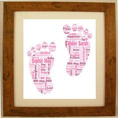 Personalised New Baby Twins Tiny Feet Word Cloud Art Gift Baby Girls Boys