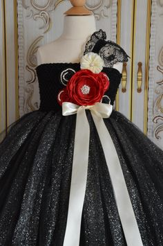 Black Red and Ivory flower girl Tutu Dress by TutuSweetBoutiqueINC