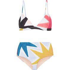 Mara Hoffman Printed bikini (1.420 RON) ❤ liked on Polyvore featuring swimwear, bikinis, bikini, full coverage bikini, triangle swimwear, high rise bikini swimwear, colorful bikini and full coverage swimwear