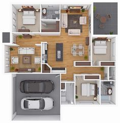 3D Small Home Floor Plans With Three Bedroom