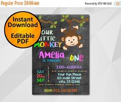 "Editable Monkey #Chalkboard #Birthday Invitation by Digi #Invites https://www.etsy.com/shop/DigiInvites/   This listing is an ""INSTANT DOWNLOAD"" that includes a high resolutio... #birthday #invitations #party #invites #chalkboard ➡️ http://jto.li/7k3yc"