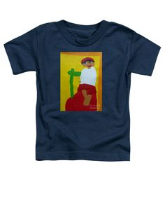 Patrick Francis Navy Blue Designer Toddler T-Shirt featuring the painting Italian Woman 2014 - After Vincent Van Gogh by Patrick Francis