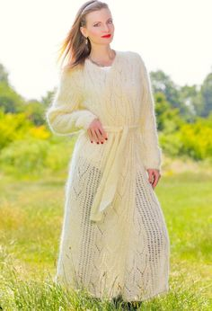 LIGHT AND AIRY IVORY Hand Knitted Mohair Sweater Coat SUMMER Cardigan SUPERTANYA #SuperTanya #BasicCoat