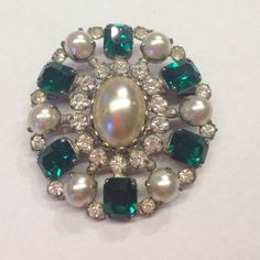 Antique Green Pearl Rhinestone Oval Brooch Pin So pretty, and all stones are intact! Unsigned or stamped. Measures 2.25 at longest point of oval. I love offers! Perfect as a holiday gift. Jewelry Brooches