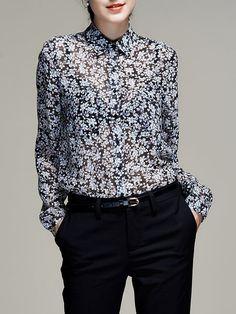Impreso Foral trabajo de manga larga cuello de la camisa de la blusa de seda