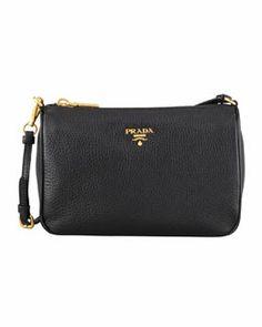 Prada Daino Small Shoulder Bag, Black (Nero)