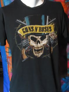 Guns N' Roses - Vintage - T-shirt - Skull in Top Hat - L - Black