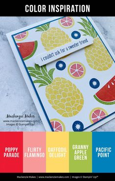 Cute Fruit Swap Cards - Mackenzie Makes Color Of The Week, Fruits Images, Bone Folder, Wink Of Stella, Cute Fruit, Mixed Drinks, Ink Color, Daffodils, Colour Images