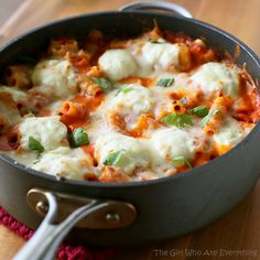 Skillet Baked Ziti: The aroma of the garlic, basil and the tomato sauce cooking was unreal. The ricotta adds a light and creamy finish to the dish. This had an authentic Italian flavor with hardly any work.