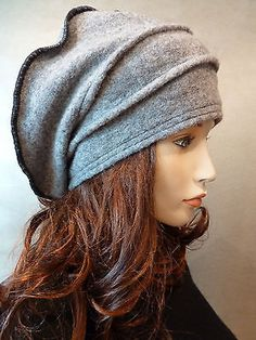 Unique Lagenlook Slouchy Chic Classic Style Grey Boiled Wool Hat New | eBay