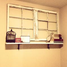 Cute windows and shelves DIY yard sale finds.