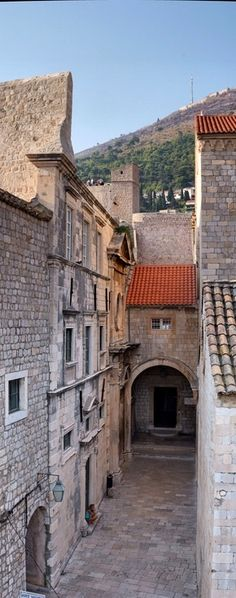 Streets of Old City, Dubrovnik, Croatia. The 'Pearl of the Adriatic', situated on the Dalmatian coast, became an important Mediterranean sea power from the 13th century onwards. Although severely damaged by an earthquake in 1667, Dubrovnik managed to preserve its beautiful Gothic, Renaissance and Baroque churches, monasteries, palaces and fountains. (V)