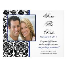 Black Damask Photo Save The Date Announcement Discount Dealstoday easy to Shops & Purchase Online - transferred directly secure and trusted checkout...