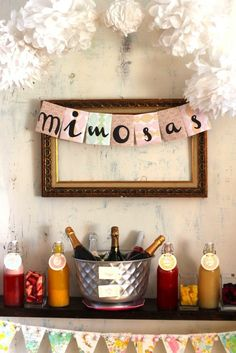 mimosa bar how to (and shopping list). Now I need to plan a party where I can have a Mimosa bar :) Baby Shower Brunch, Shower Baby, Girl Shower, Bar Mimosa, Sangria Bar, Before Wedding, Wedding Day, Wedding Morning, Wedding Tips